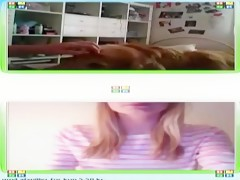 webcam girl watches another girl and her dog